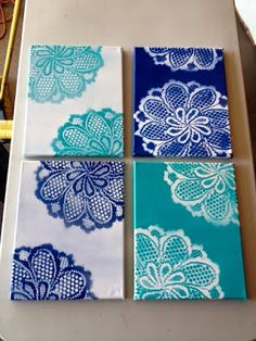 Doily canvas art ~Except use tiny canvases and lay the doily over the entire thing. Doily Art, Lace Art, Art Diy, Diy Wall Art, Crafts To Do, Arts And Crafts, Diy Spray Paint, Spray Paint Canvas, Doilies Crafts