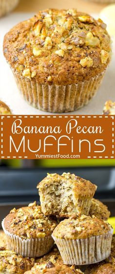 BANANA PECAN MUFFINS - perfect and healthy way to start your day! Great for breakfast, snack or a dessert!