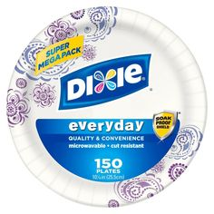 Dixie Everyday Printed Plates, Inch - 48 Count (Pack of Dixie disposable plates for everyday use. Paper Bowls, Paper Plates, Disposable Plates, Mega Pack, After School Snacks, Food Service Equipment, Quick Snacks, The Dish, Dinner Plates