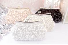 Bridal Crystal Rhinestone Pearls Beaded Evening Clutch Bag Handbags Purse Wallet #new #pearlsbeadedclutchbagshoulderchainbag