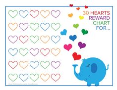 elephant and rainbow hearts reward chart free printable downloads from choretell