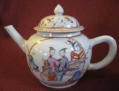 18th-CENTURY-CHINESE-EXPORT-PORCELAIN-FAMILLE-ROSE-TEA-POT-w-ORIGINAL-COVER