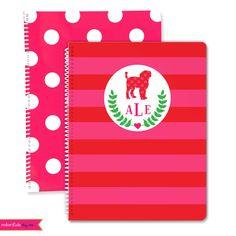 Monogrammed Dog Breed Spiral Notebook- Pick Your Dog Breed