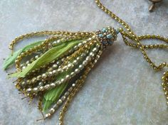 Green Gold and Turquoise Boho Tassel Necklace  by TerebellumStudio