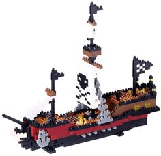 This advanced 780-piece Nanoblock building set has all the flavor of the high seas, in great detail! The main sail even sports a skull and crossbones, so you will never mistake the intent of this ship approaching in the night.