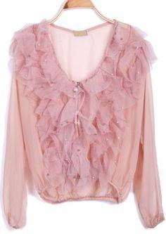 Pink Pearls Ruffle Front Sheer Chiffon Blouse #SheInside