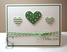 I like the patterned paper vs. the stripes! Valentine Love Cards, Valentines Greetings, Valentine Ideas, St Patricks Day Cards, Heart Cards, Scrapbook Cards, Scrapbooking, Paper Cards, Anniversary Cards