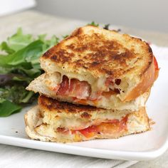 oohhhbaby:    garlic-rubbed grilled cheese with bacon and tomato