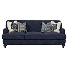 Can't go wrong with navy! Lend a touch of breezy style to your living room or parlor with this chic sofa, showcasing turned legs and 4 complementing throw pillows.  ...