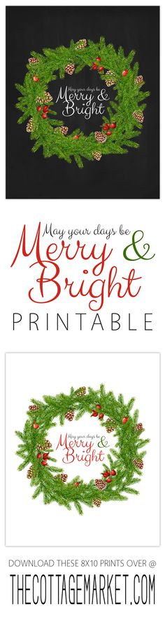Free Christmas Printable /// May Your Days be Merry and Bright 8x10 Print - The Cottage Market