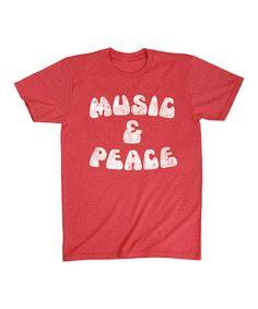 Heather Red 'Music & Peace' Tee - Men's Regular #zulily #zulilyfinds