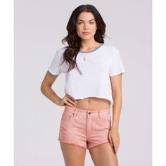 Billabong Women's Highway Denim Shorts (6.265 ISK) ❤ liked on Polyvore featuring shorts, rosewater, walkshorts, high-waisted shorts, high rise denim shorts, ripped jean shorts, distressed high waisted shorts and distressed denim shorts