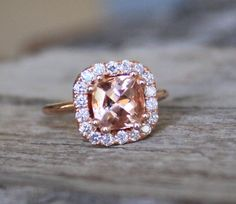 1.64 Cts. Champagne Pink  Cushion Morganite Diamond Halo Ring in 14K Rose Gold. $1,720.00, via Etsy.