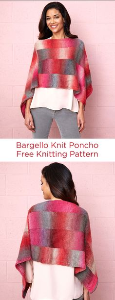Bargello Knit Poncho Free Knitting Pattern in Red Heart Yarns -- Using the vibrantly shaded Unforgettable® yarn makes it possible to create a Bargello effect. See the notes on how to work with yarn and change balls without making holes. This season-spanning style can be worn with the points at front and back or with points turned to the sides.