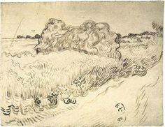Vincent van Gogh Wheat Field with a Stack of Wheat or Hay Drawing