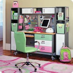 POTTERY Barn desk and side cabinets that C. wanted in the 6th grade.  Bought Powell knock off
