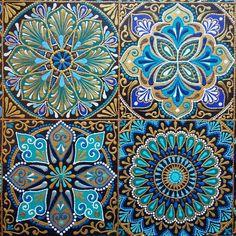 Mandala Drawing, Mandala Painting, Dot Painting, Mandala Art, Indiana, Decoupage Printables, Vintage Tile, Mirror Mosaic, Blue Pottery