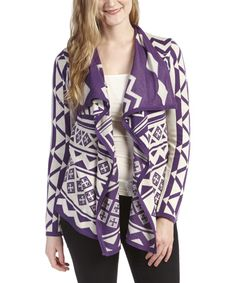 Another great find on #zulily! Olivia M Purple & White Geometric Open Cardigan by Olivia M #zulilyfinds