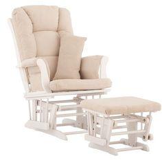 Stork Craft Custom Tuscany Glider & Ottoman w/ Free Lower Lumbar Pillow - White/Beige | Walmart.ca