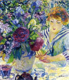 ⊰ Posing with Posies ⊱ paintings of women and flowers - Woman with a vase of flowers by Henri Lebasque