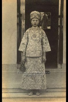 PHOTOGRAPH OF LADY IN PERANAKAN WEDDING COSTUME - 1950s