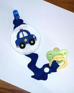 Policeman Baby Boy Pacifier Clip - Squad Car