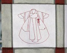 Redwork oriental embroidery designs : Hanbok Korean by edamneedle