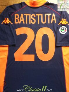 Relive Gabriel Batistuta s 2001 2002 Serie A season with this vintage Kappa  Roma 3rd football f1745c52c9f4c