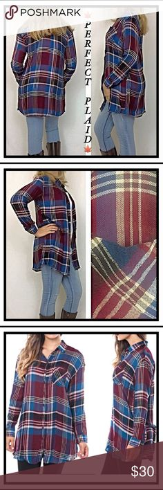"Perfect Plaid Lightweight Button Tunic Top SML Perfect Plaid in Tunic Length. Long enough to wear with leggings or your favorite jeans. Wear buttoned or unbuttoned. Lightweight, soft rayon in maroon/burgundy/slate blue/ivory/S M L  Measurements laying flat: Small Chest 19"" Length 30"" Medium Chest 20"" Length 30.5"" Large Chest 21"" Length 31"" Tops"