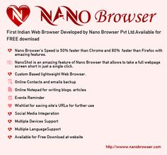 Nano Browser is a fastest web browser that supports Windows, MAC, Linux, Android/iOS.t has a great set of   features that provides flexibility to users like nano shot that allow users to take a full web page screen shot in just a  single click. https://www.nanobrowser.com