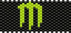 Loom Band Patterns, Pony Bead Patterns, Peyote Stitch Patterns, Kandi Patterns, Bracelet Patterns, Beading Patterns, Diy Kandi Bracelets, Rave Bracelets, Monster Logo