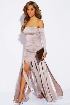#1015store.com #fashion #style Taupe beige off shoulder ruched fringed evening gown-$40.00