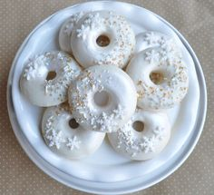 What pretty winter themed donuts at this Winter Wonderland Christmas Holiday Party! See more party ideas and share yours at CatchMyParty.com