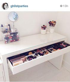 Ideas For Makeup Storage Vanity Beauty Room Dreams Vanity Room, Vanity Desk, Diy Vanity, Vanity Drawers, Vanity Tables, White Vanity, Ikea Vanity, Makeup Tables, Vanity Mirrors