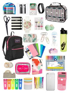 """School supplies"" by sophiatenici on Polyvore featuring JanSport, Casio, Eos, russell+hazel, Imm Living, Volcom, NIKE, Odeme, Popband and Fitbit"