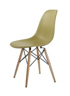 nice HNNHOME Eames Inspired Eiffel DSW Dining Plastic Chairs Modern Lounge Office Furniture (Olive)