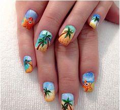 www.shuggiescosmeticos.com Cruise Nails, Vacation Nails, Beach Nail Art, Beach Nails, Palm Tree Nail Art, Bright Summer Nails, Summer Colors, Nails Inspiration, Pretty Nails