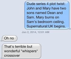 ...I thought it was talking about supernatural and was like.... but? that's? kind? of? the? plot?