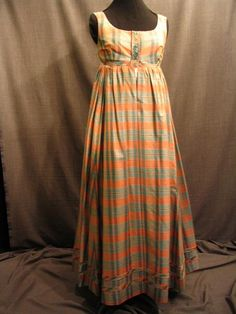 Dress 1810 w petticoat peach blue plaid