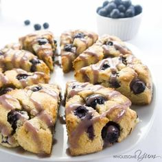 These paleo, low carb scones are bursting with juicy fresh blueberries and topped with a natural blueberry glaze. Can& beat gluten-free blueberry scones! Low Carb Sweets, Low Carb Desserts, Low Carb Recipes, Almond Flour Desserts, Almond Flour Recipes, Coconut Flour, Almond Milk, Blueberry Scones Recipe, Gluten Free Blueberry