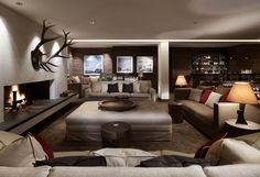 Les Suites de la Potinière, Aurelio Lech and Carlton Hotel St Moritz are the world's most expensive luxury ski hotels - Hotel Lech, Tolle Hotels, Lobby Lounge, Hotel Lounge, Residential Lighting, Bar Seating, Spacious Living Room, Best Hotels, Austria