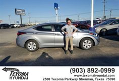 https://flic.kr/p/F4qWiq | Congratulations Rachell on your #Hyundai #Elantra from Dustin Kile at Texoma Hyundai! | deliverymaxx.com/DealerReviews.aspx?DealerCode=L967