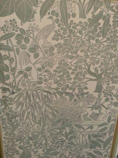 Marthe Armitage handprinted wallpaper linocut hogarth house exhibition Fabric Wallpaper, Pattern Wallpaper, Pattern Paper, Fabric Patterns, Tyga, Stencil Painting, Repeating Patterns, Designer Wallpaper, Hogarth House
