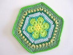Crochet green granny doily