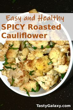 Best ever spicy oven roasted cauliflower with cumin, coriander and turmeric! This easy and healthy baked cauliflower is delicious and very simple to make. And this oven roasted cauliflower is vegan, Keto and low carb Easy Thanksgiving Dinner, Traditional Thanksgiving Recipes, Healthy Thanksgiving Recipes, Vegetarian Thanksgiving, Fall Dinner Recipes, Fall Recipes, Spicy Roasted Cauliflower, Cauliflower Side Dish, Cauliflower Recipes