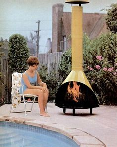 Oh So Lovely Vintage: Burn baby, burn. This would be perfect for our back deck Vintage Fireplace, Cozy Fireplace, Fire Pit Patio, Outdoor Spaces, Outdoor Decor, Backyard Landscaping, Backyard Ideas, Mid Century House, Modern House Design