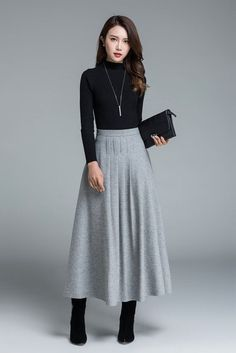 Light grey skirt wool skirt winter skirt pleated skirt maxi skirt winter wool skirt long skirt skirt for women handmade skirt 1643 Maxi Skirt Winter, Spring Skirts, Skirts For Winter, Skirt Outfits For Winter, Outfit Winter, Winter Boots, Maxi Skirt Outfits, Dress Skirt, Skirt Pleated
