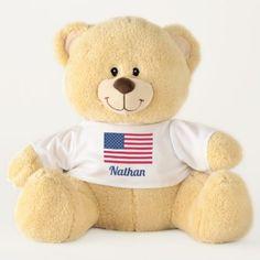 American Flag | Personalized Teddy Bear - personalize cyo diy design unique