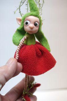little Christmas Elf pixie FAIRY (34 ) ooak poseable art doll by DinkyDarlings by DinkyDarlings on Etsy