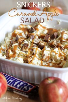 6 regular size Snickers Candy Bar, 6 apples, 1 (5 oz.) package Vanilla Instant Pudding, 1/2c. milk, 1 (12 oz.) tub cool whip, 1/2c. caramel ice cream topping. Whisk vanilla pudding packet, 1/2 cup milk and cool whip together until well combined. Chop up apples and Snickers. Stir chopped apples and Snickers into pudding mixture. Place in a large bowl and drizzle with caramel ice cream topping. Chill for at least 1 hour before serving.